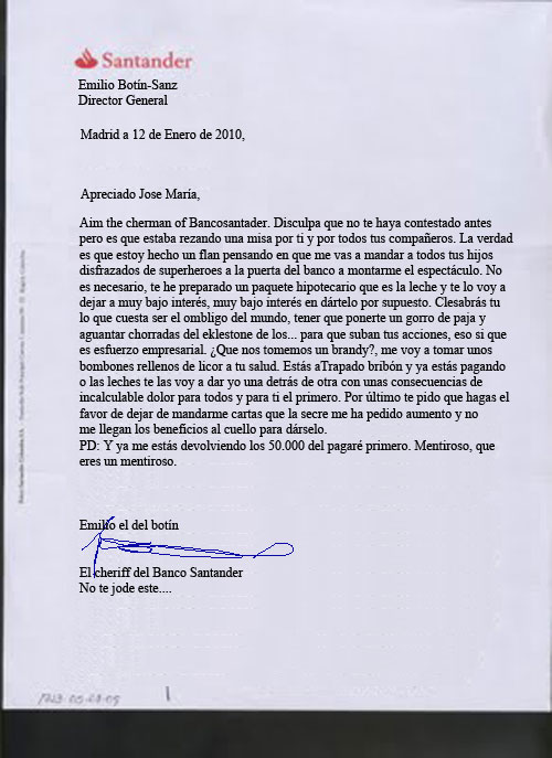 Carta emilio Botn a Jose Mara Ruiz Mateos
